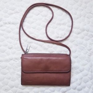 Fossil leather crossbody bag brown purse small